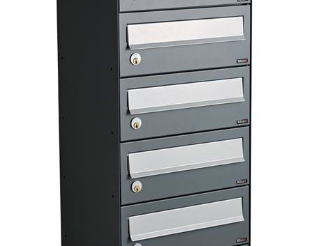 ALLUX LC 4 WITHOUT LOCK - 6 MODULE ANTHRACITE RAL 7012S WITH GREY FLAP RAL 9006